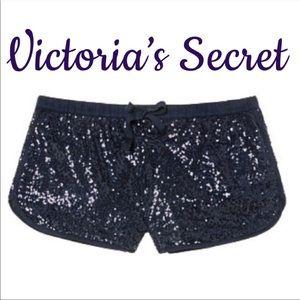 Victoria's Secret Sequin Drawstring Blue Shorts